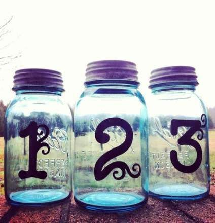 Trendy wedding centerpieces mason jars center pieces table numbers ideas Trendy wedding centerpiece