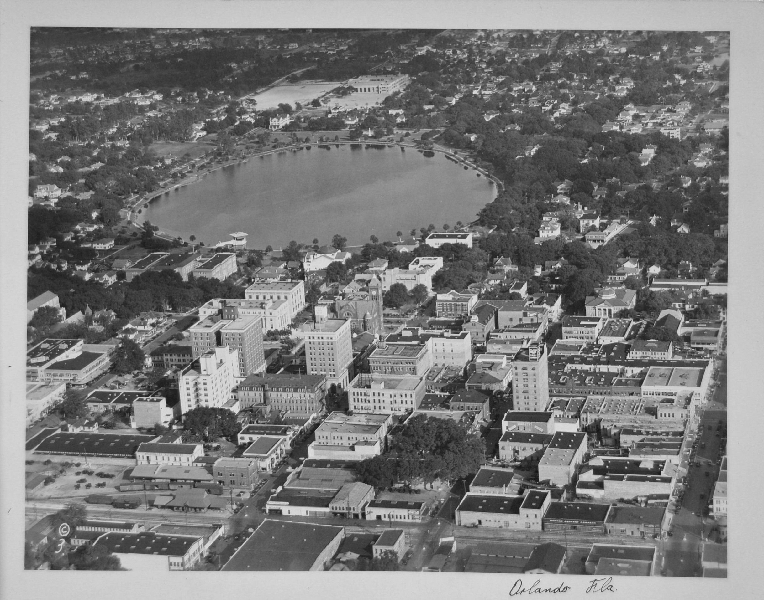 Downtown Orlando Aerial View Looking East Lake Eola Is In The Top