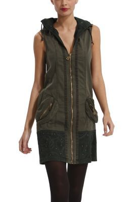 $112 Desigual women's Jhara dress. A very original short dress with hood, frontal zip fastening and side pockets.