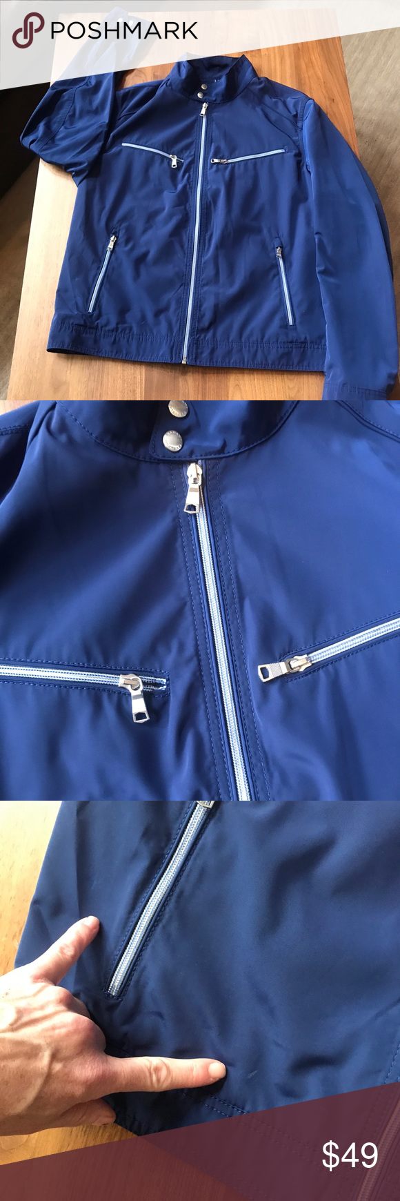 Banana Republic Mens moto blue rain jacket L VGUC Mens