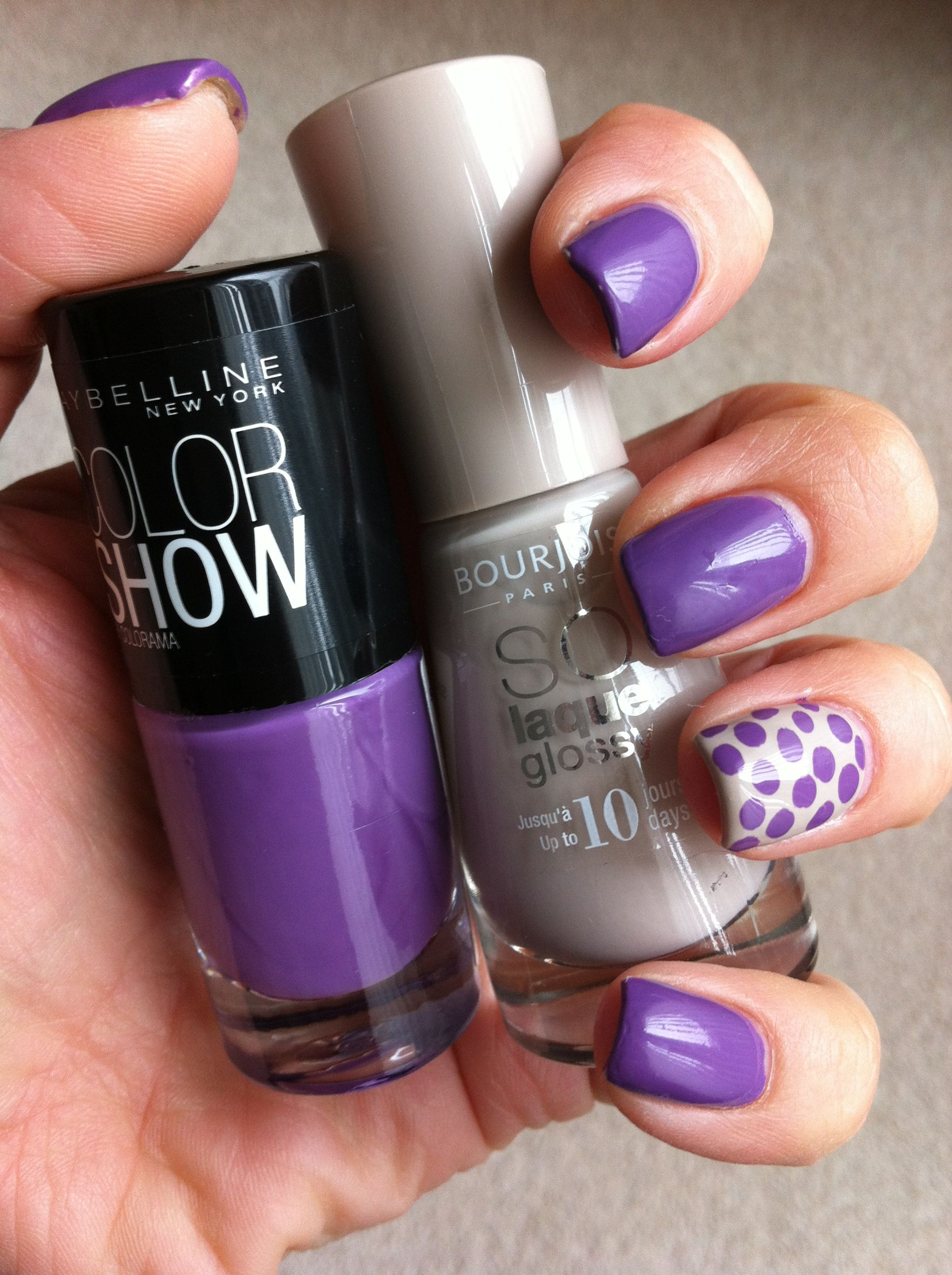 Maybelline Lavender Lies & Bourgois Beige spotty nail design | Nails ...