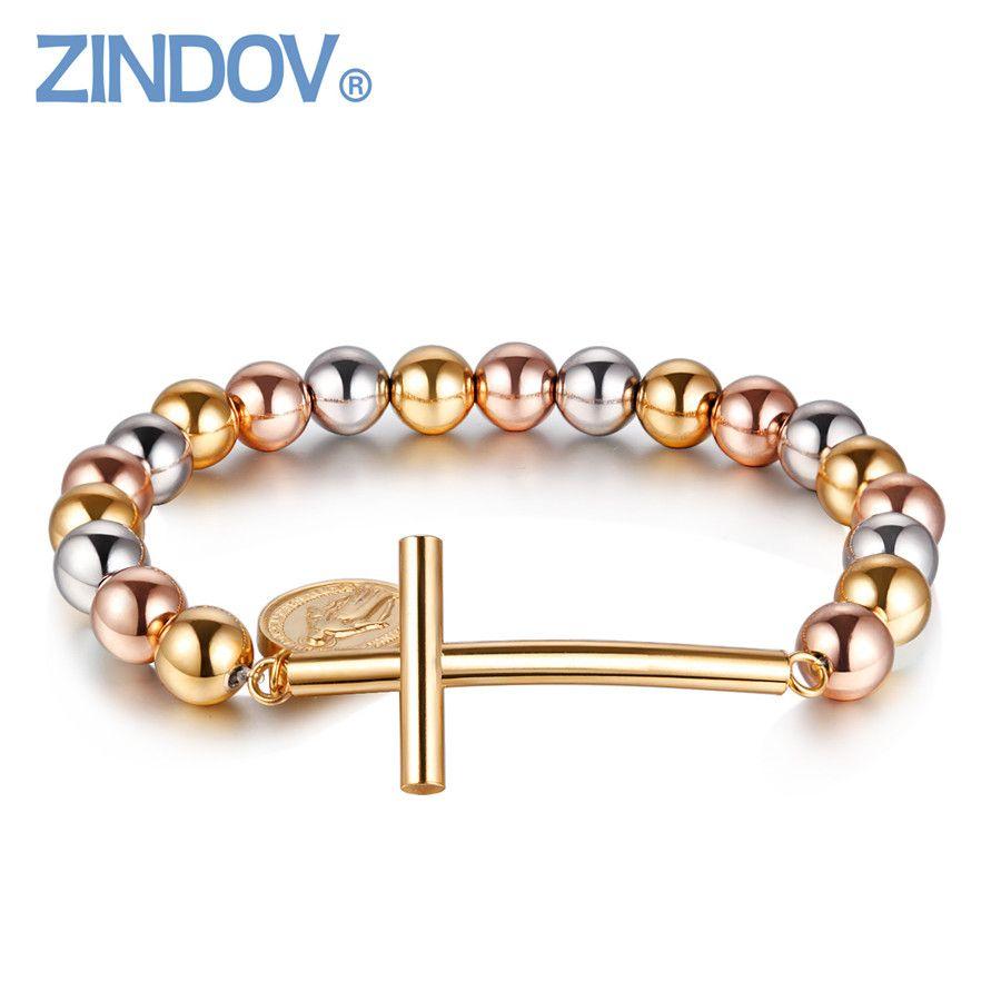 Zind trendy stainless steel light gold stretch beaded bracelets