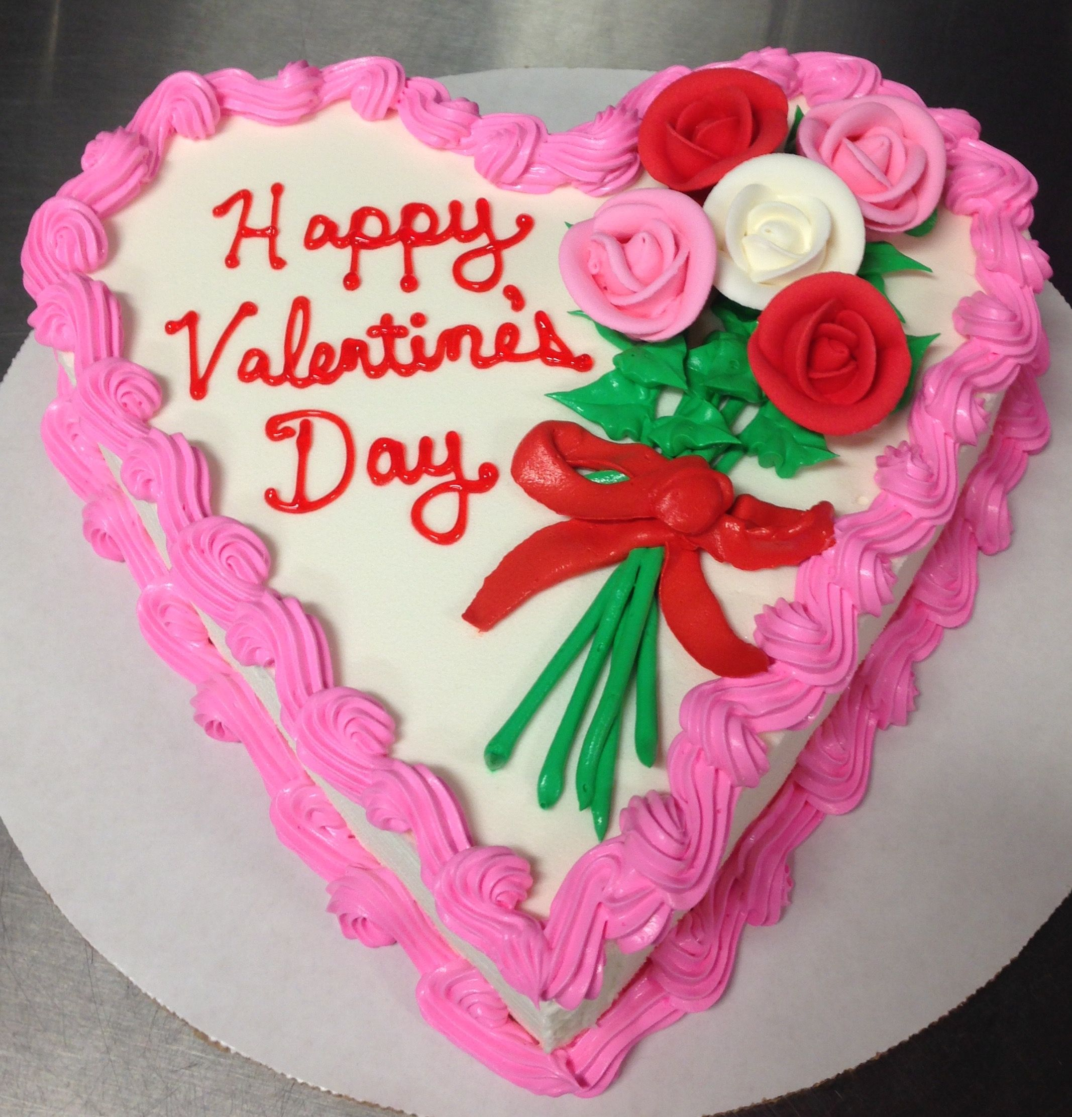 Valentine's Day DQ Heart Ice Cream Cake With Bouquet Of