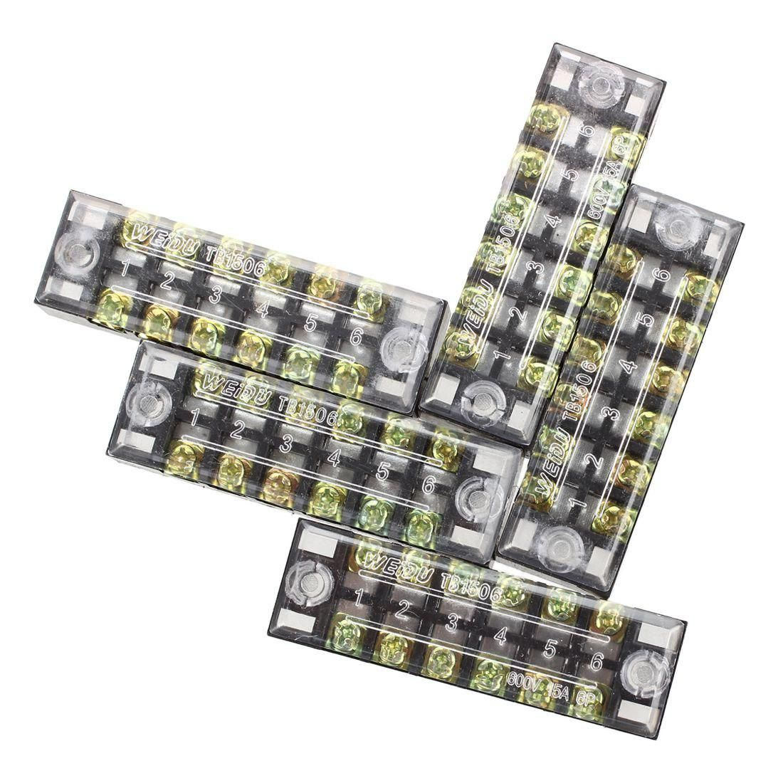 5 Pcs 600V 15A 6 Positions 2 Rows Barrier Screw Terminal Block Strip w  Cover. Yesterday's price: US $3.44 (3.02 EUR). Today's price: US $3.44  (3.04 EUR).