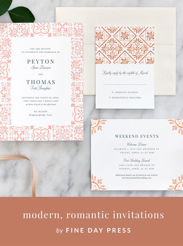 spanish tile wedding invitation muted