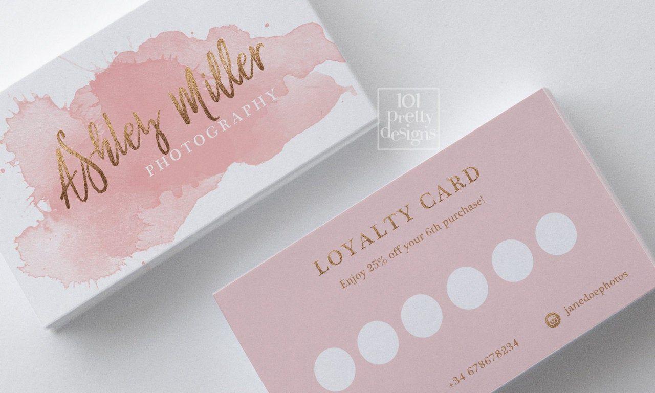Watercolor Loyalty Card Design Rose Gold Printable Loyalty Card Design Gold And Pink Reward Card Loyalty Card Design Salon Business Cards Loyalty Card Template