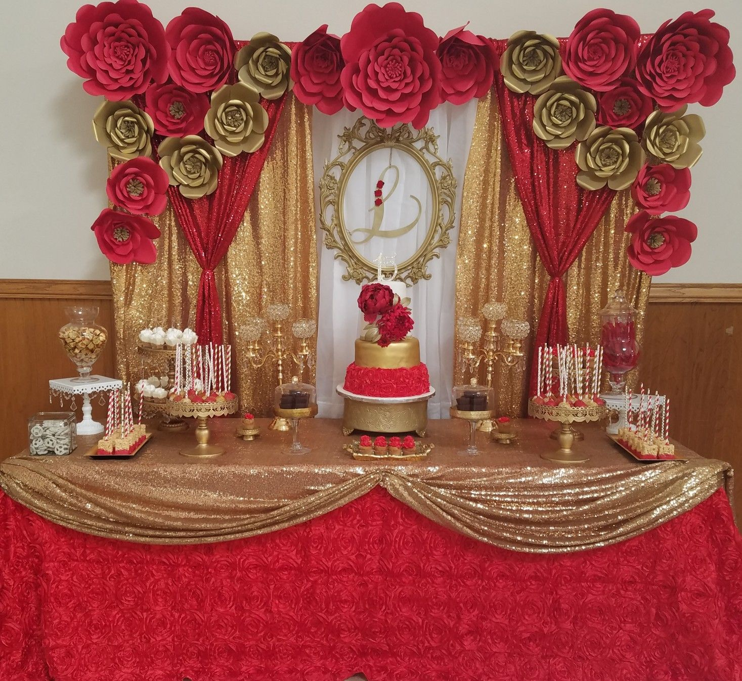 Quinceanera Dessert Table 15th Birthday Party Red And Gold
