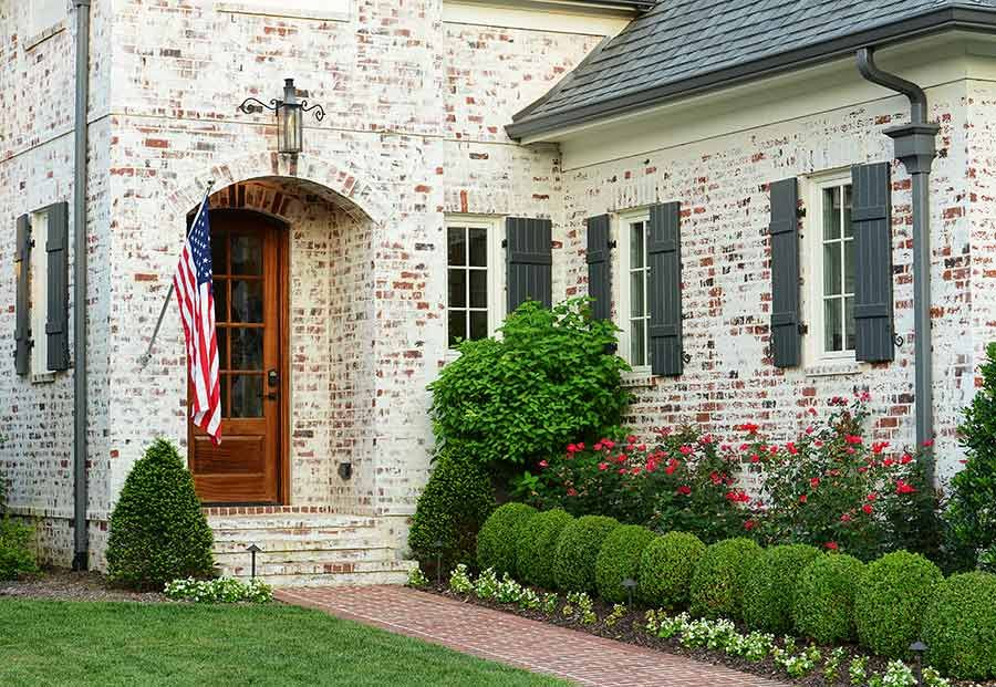 Showcases Exterior Brick Farmhouse Landscaping Exterior