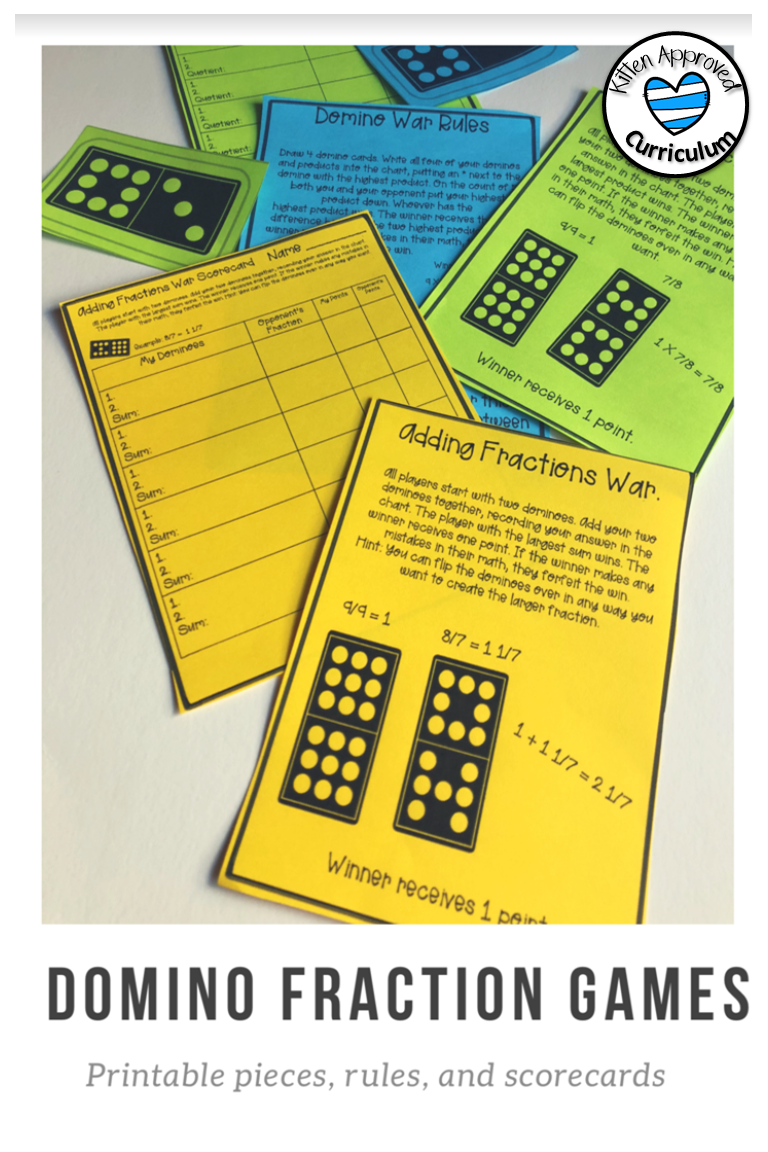 image about Dividing Fractions Games Printable identify Domino Portion Video games, Introducing Subtracting Multiplying and