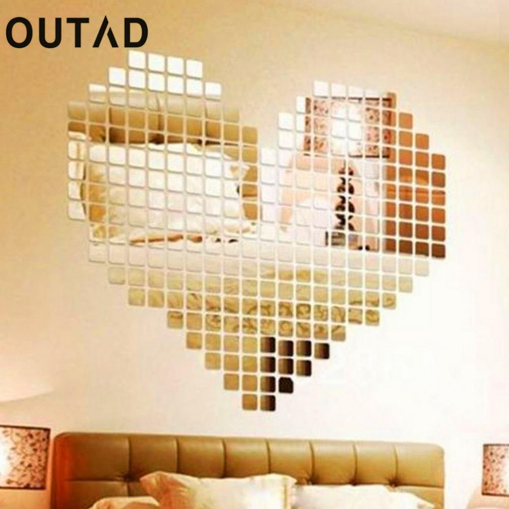 OUTAD 100 Piece DIY Self-adhesive Tile 3D Mirror Wall Stickers Decal ...