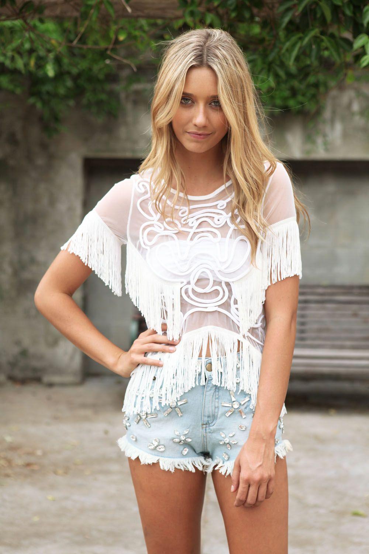 Ivory Fringe Top Fashion, Style, Summer fashion