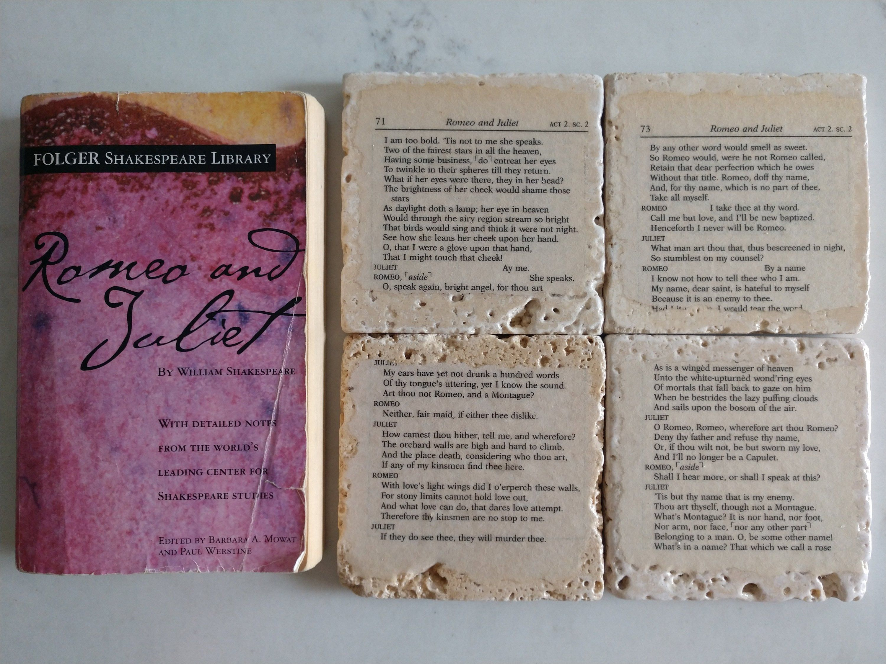 Romeo And Juliet Tiles Sealed Book Pages Table Decor