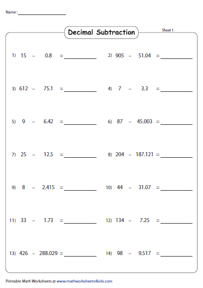 Subtracting Decimals From Whole Horizontal Decimals Subtracting Decimals Subtraction