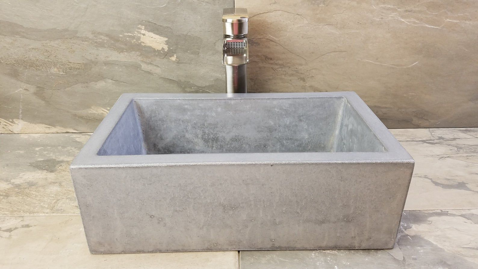 Photo of 17×10 Rectangle Vessel Concrete Sink