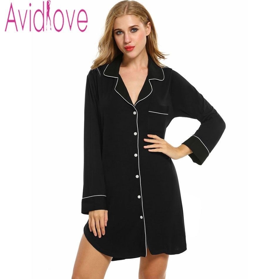 Avidlove sleepshirts women long sleeve sleepwear cotton Long cotton sleep shirts