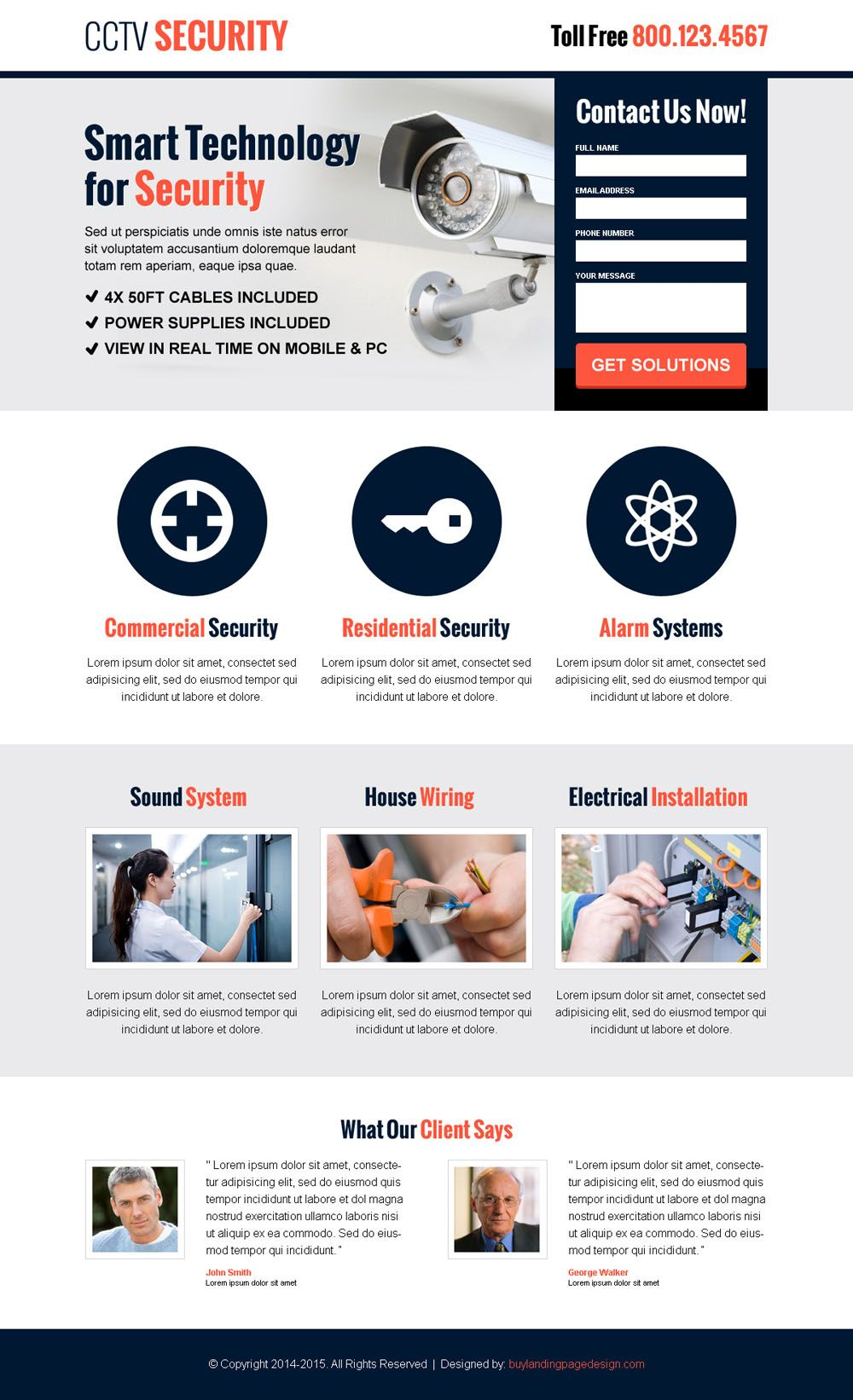 Cctv security lead capture responsive landing page design for Lead capture page templates free