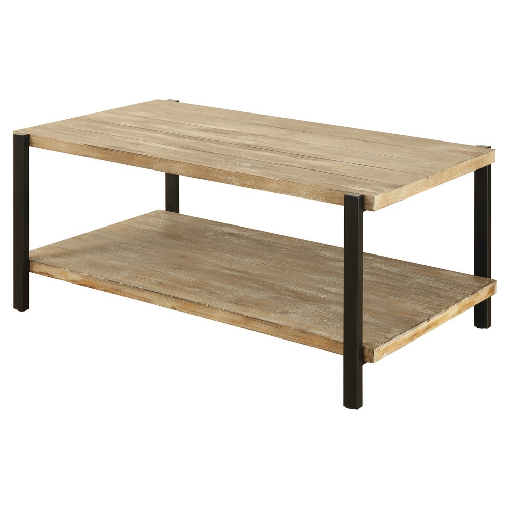 Wyoming Large Coffee Table - Natural Fir / Black - Convenience Concepts