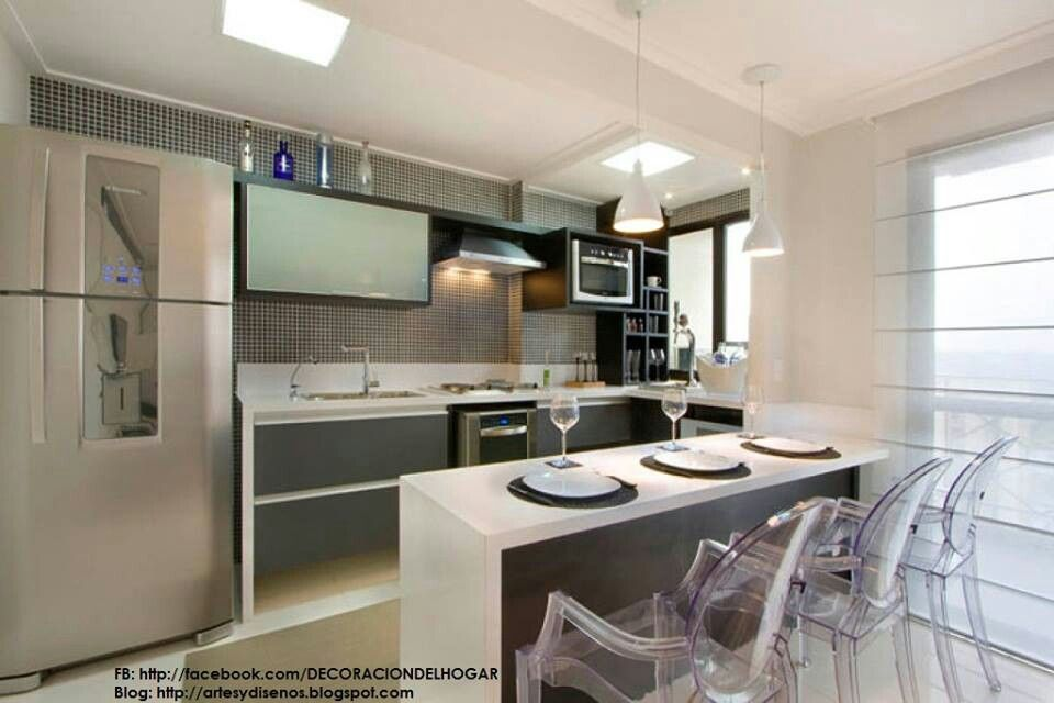 Cocina con isla minimalista Projects to try Pinterest Cocina - cocinas pequeas minimalistas