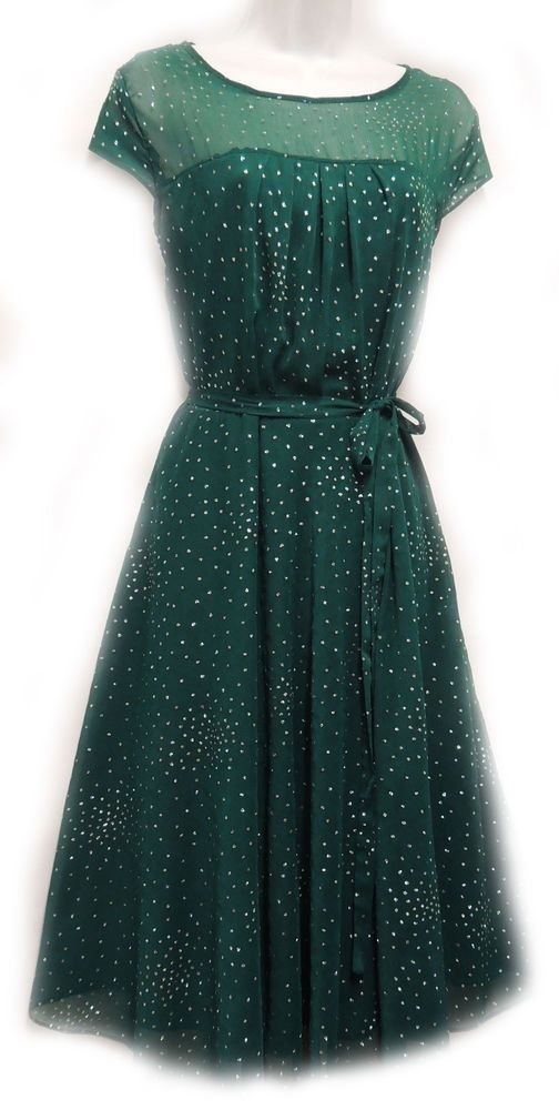 PlusSize 1930's 40's Style Teal Green Sheer Illusion Glitter Chiffon Party Dress #Boutiquebrand