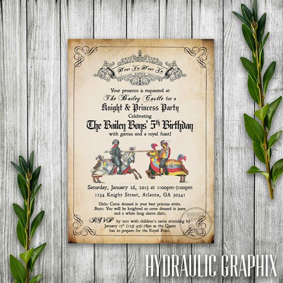 28 Best Medieval Wedding Invitations Images On Pinterest: Knight Birthday Party Invitation Printable, Medieval Times
