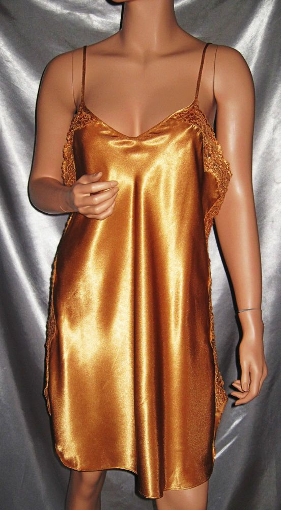 f0bad83eb0 Vintage Inner Most Gold Liquid Satin Lingerie Slip Nightgown L Large   InnerMost