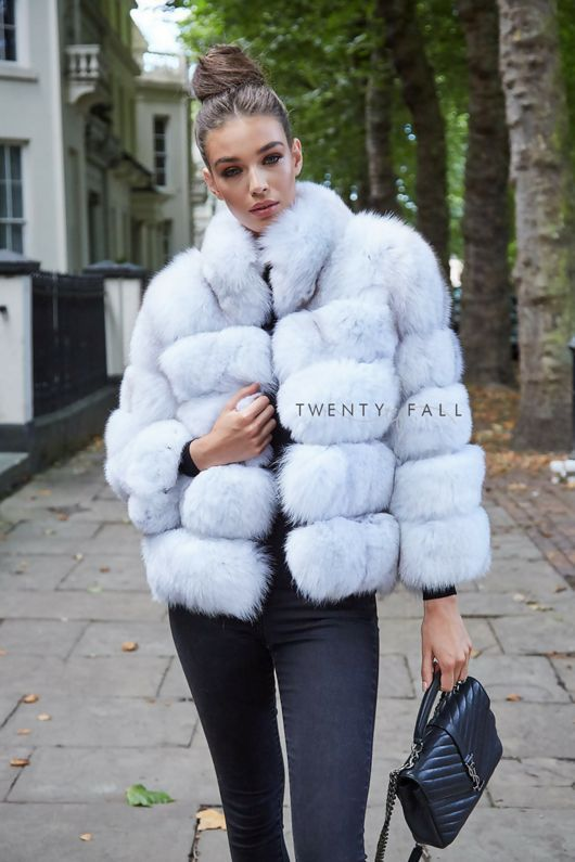 Natural White 5 Ring Fox Fur Coat With, White Fox Fur Coat Outfit