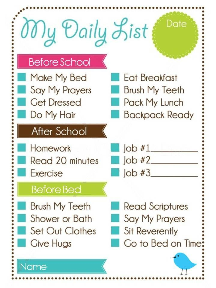 Printable Weekly Chore Chart Kids Daily List And Chore Chart