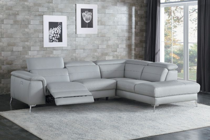 Homelegance He 8256gy 2 Pc Cinque Gray Top Grain Leather Sectional Sofa With Power Reclining Foot Rest And Chaise Leather Couches Living Room Leather Sectional Living Room Reclining Sectional