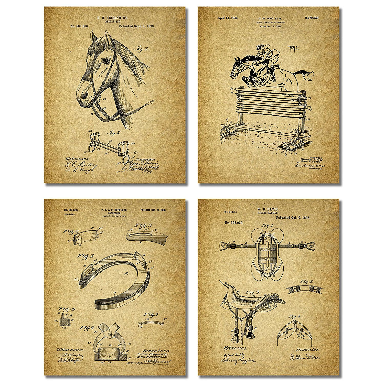 Amazon.com: Horse Riding Patent Prints - Set of Four Equestrian ...