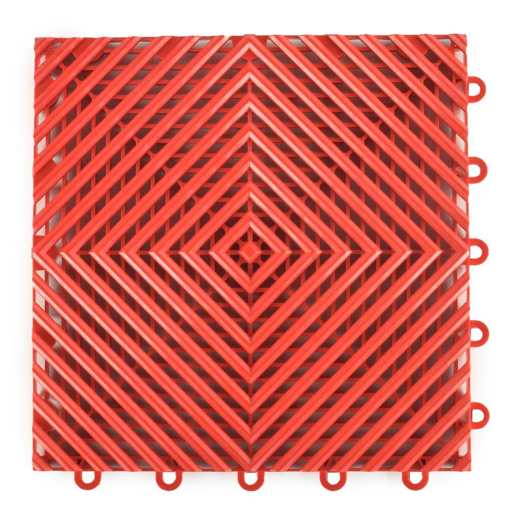 Greatmats Perforated Click 121/8 in. x 121/8 in. Red