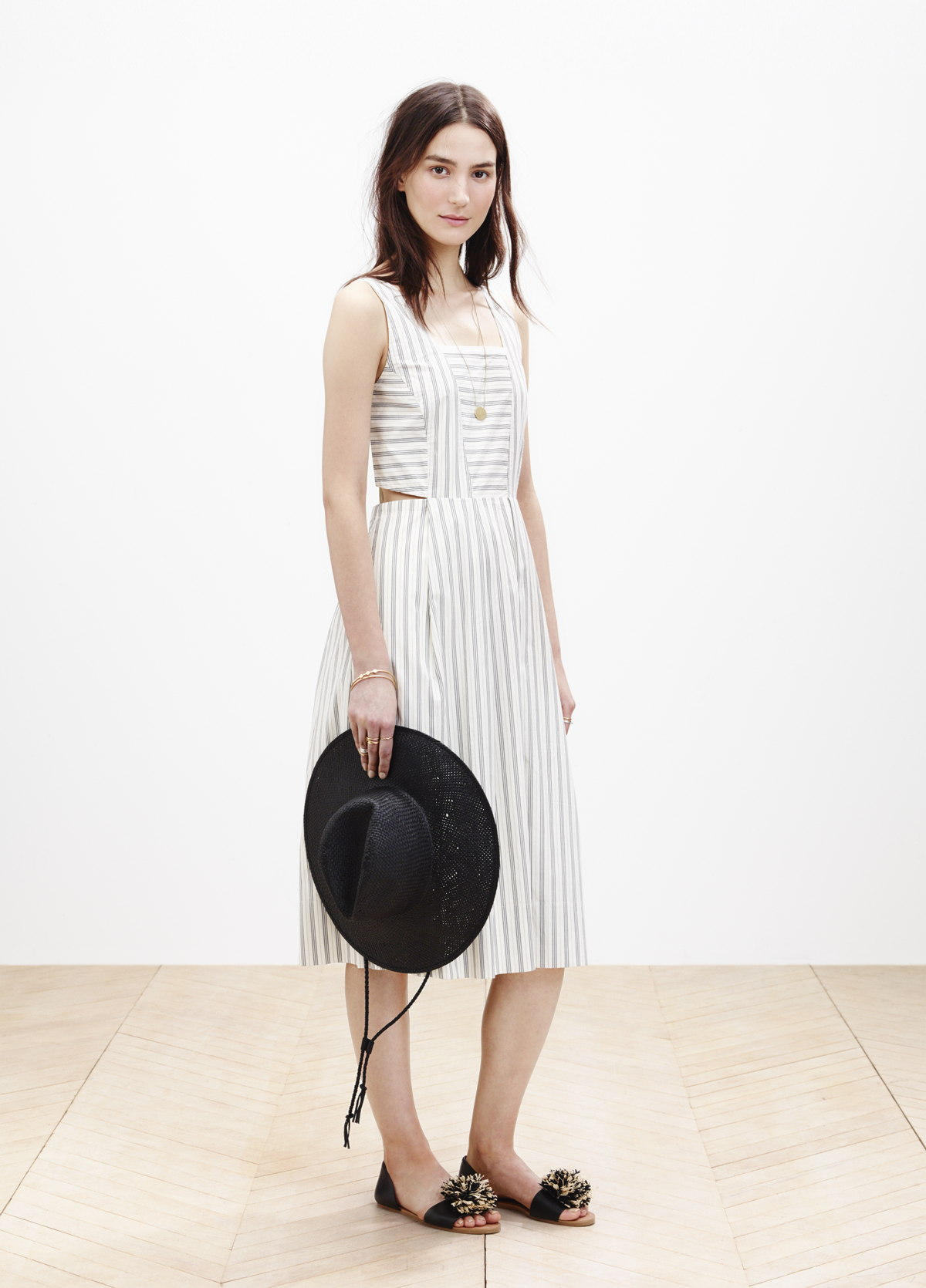 3553b5234e2 Madewell cutout sundress worn with the straw fedora + slim Thea pom-pom  sandal.  springmadewell