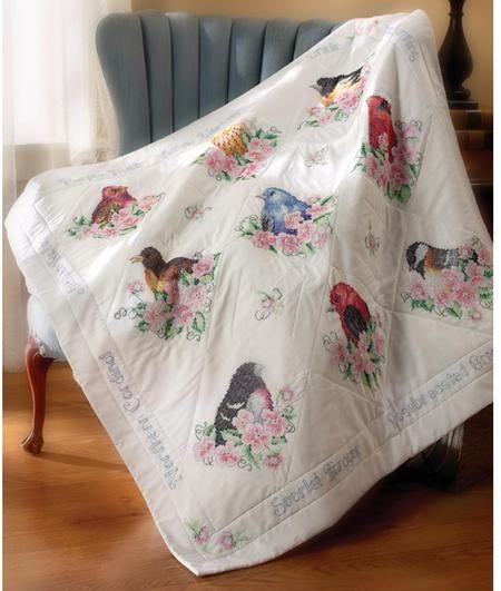 Bucilla st&ed cross-stitch birds quilt kit   Embroidery ... : stamped cross stitch lap quilts - Adamdwight.com