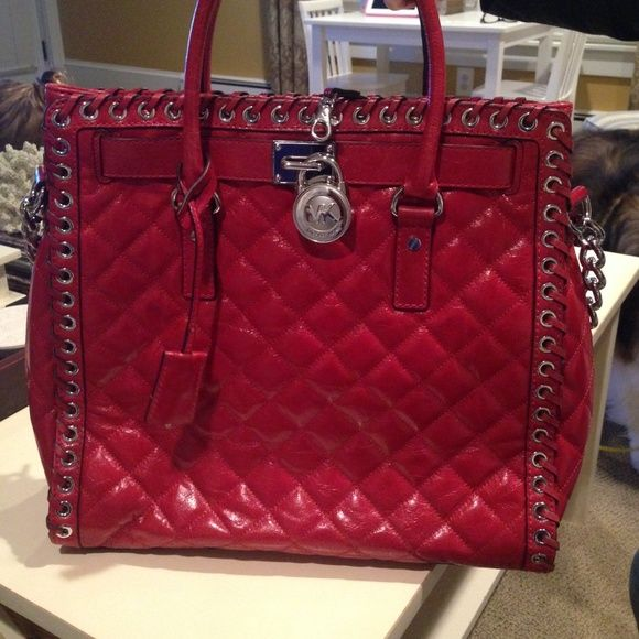 Michael Kors Red Hippie Grommet Hamilton Tote Barely Used Comes With Duster Bag Bought