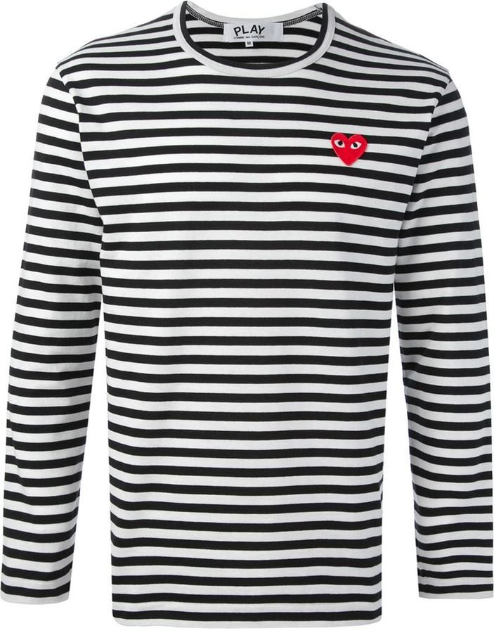 35f57c66 Comme Des Garçons Play embroidered heart striped T-shirt | Men's ...