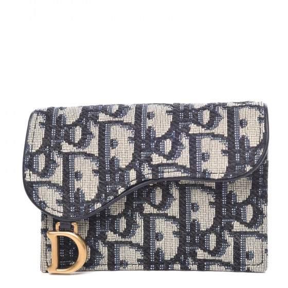 Dior Saddle Card Holder Oblique Blue In 2021 Dior Saddle Bag Designer Wallets Dior