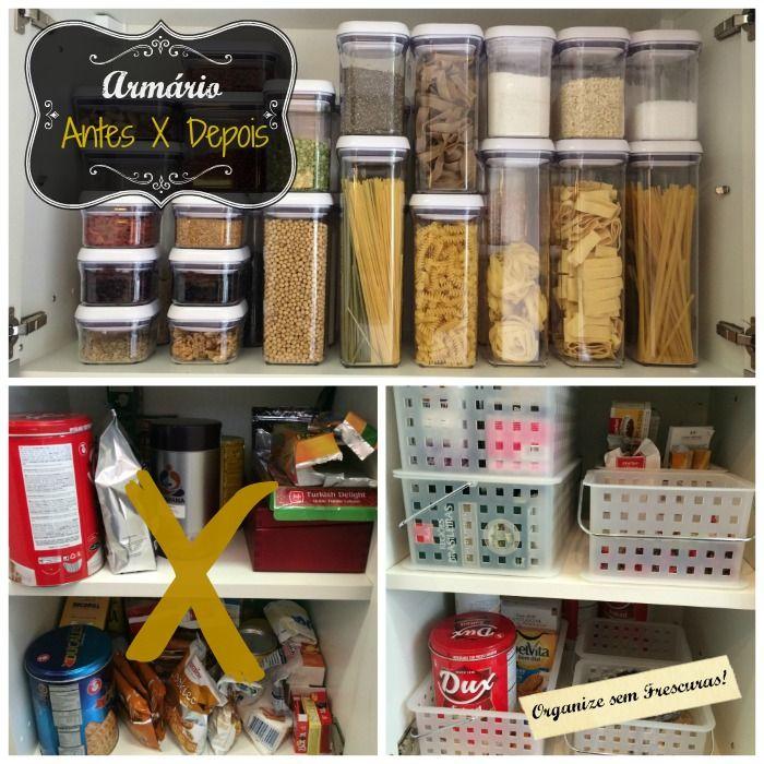 Organização do armário da cozinha: antes x depois