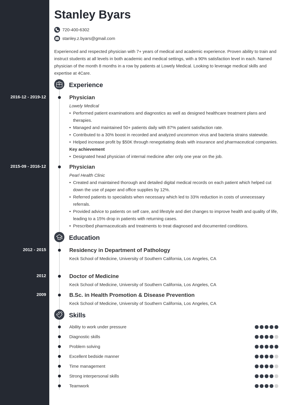 physician cv example template concept in 2020 Accountant