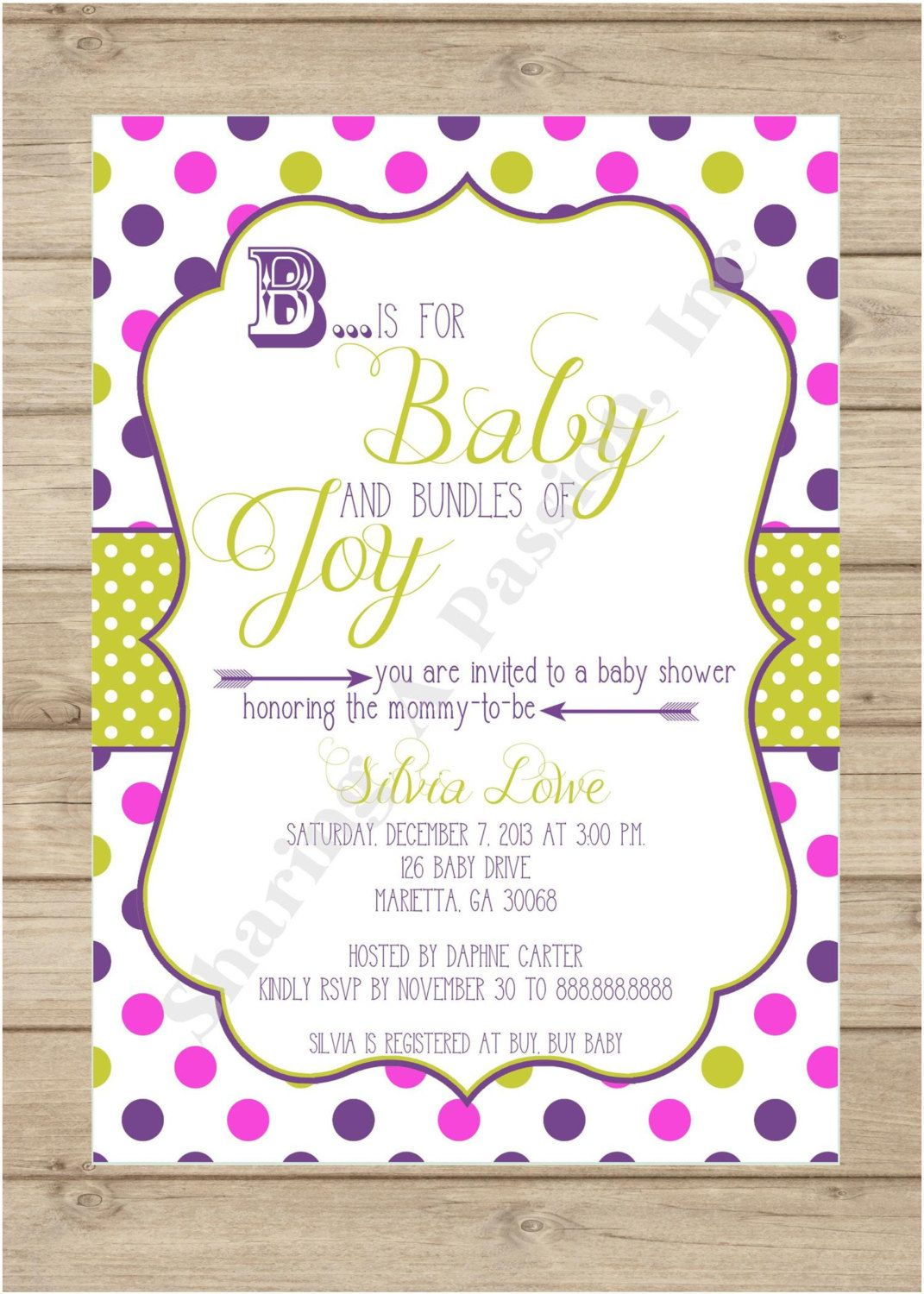 B is for baby invitation unique invitations by sharingapassioninc b is for baby invitation purple and green baby shower invitation colorful baby shower custom invitations printable invitations baby shower filmwisefo