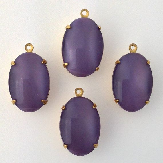 Amethyst Moonglow Stone in 1 Loop Brass Setting by yummytreasures, $3.99