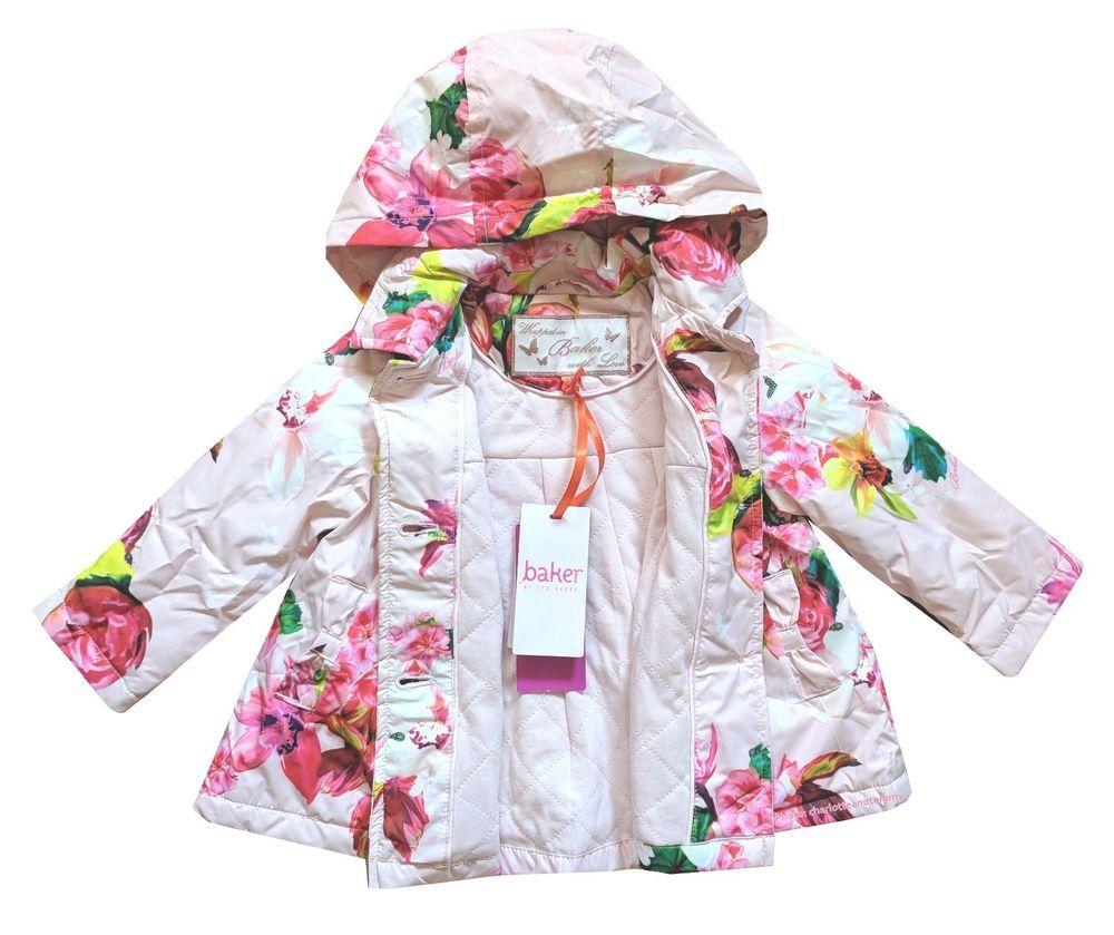 14b983f16 Ted Baker Baby Girl Jacket Coat Pink Floral Rain Mac Designer 12-18 Months