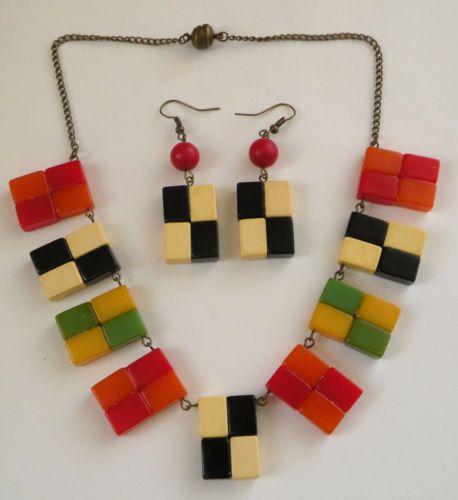 Vintage Bakelite Pieces Checkerboard Necklace And Earrings Set Bakelite Necklace Bakelite Jewelry Vintage Bakelite