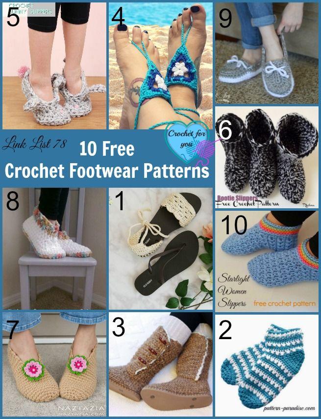 10 Free Crochet Footwear Patterns Link List   Pinterest