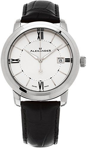 51be7aedbdf Alexander Heroic Macedon Wrist Watch For Women Black Leather Stainless  Steel Analog Swiss Watch Silver White Dial Date Womens Designer Watch  A11102 ** Learn ...