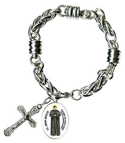 """St John Bosco for Education & Cross Stainless Steel 7"""" to 8"""" Bracelet"""
