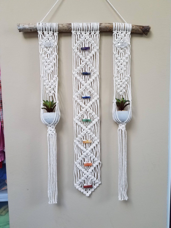 Macrame Chakra Wall Hanging Plant Hanger Combo Healing Crystals