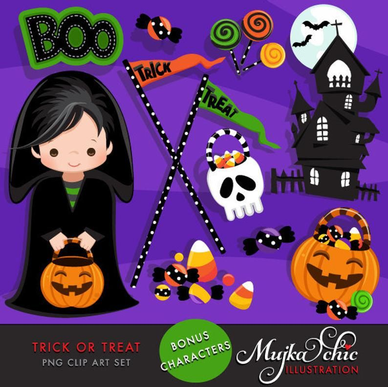 Halloween Clipart Trick Or Treat Clipart With Halloween Boy Etsy Halloween Trick Or Treat Halloween Hacks Halloween Clipart