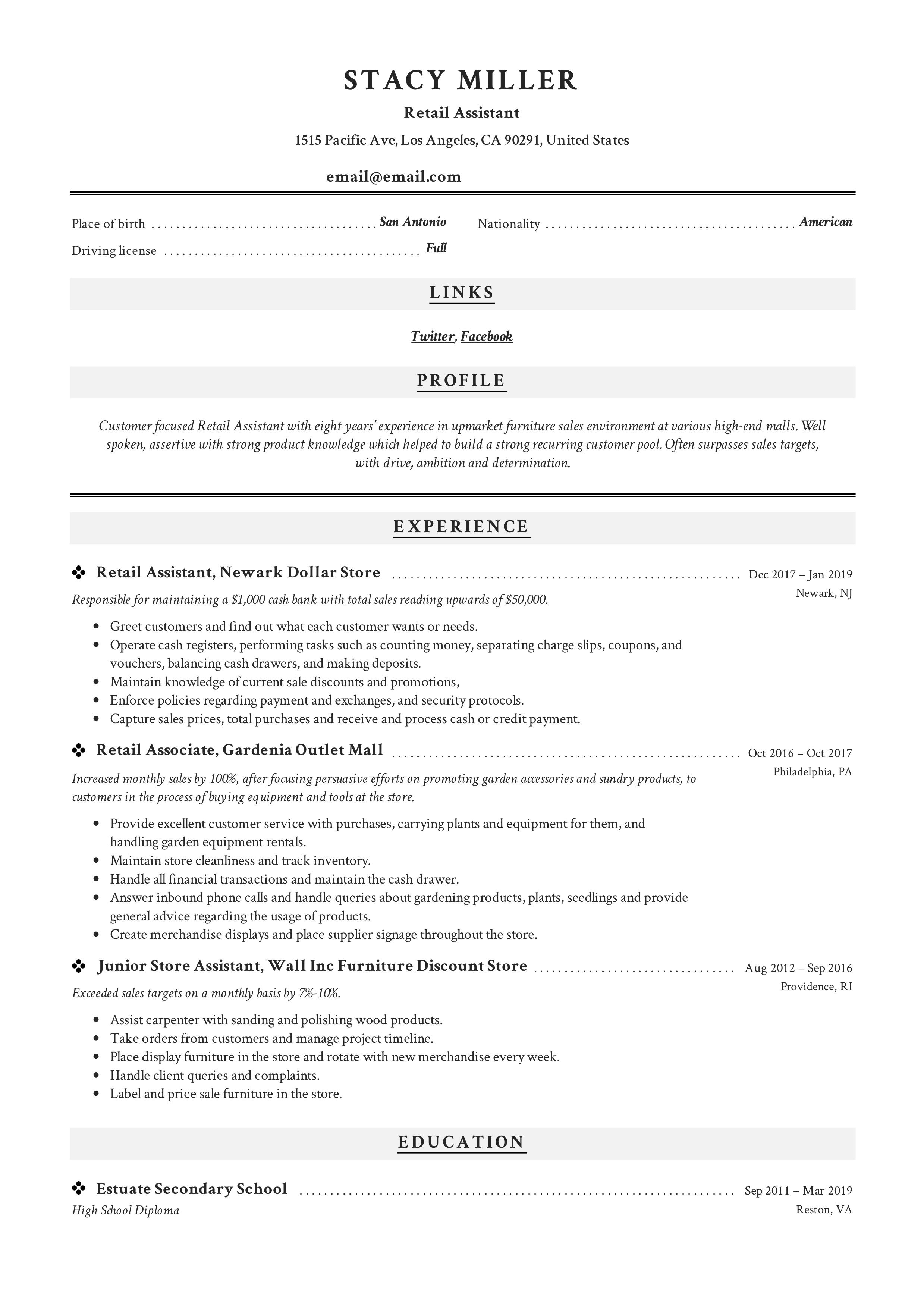 Retail Assistant Resume Sample in 2020 Resume guide