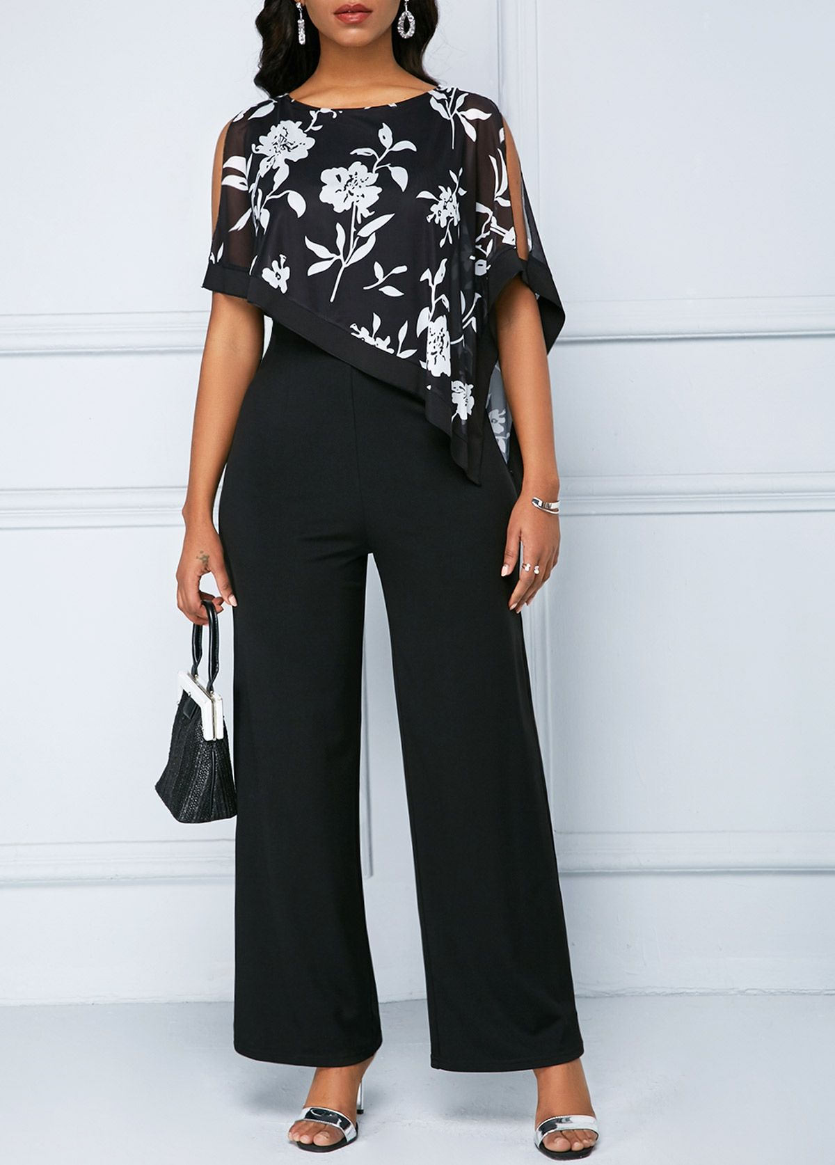 140b2b457e561 Chiffon Overlay Printed Black Split Sleeve Jumpsuit #Printed, #Overlay, # Chiffon
