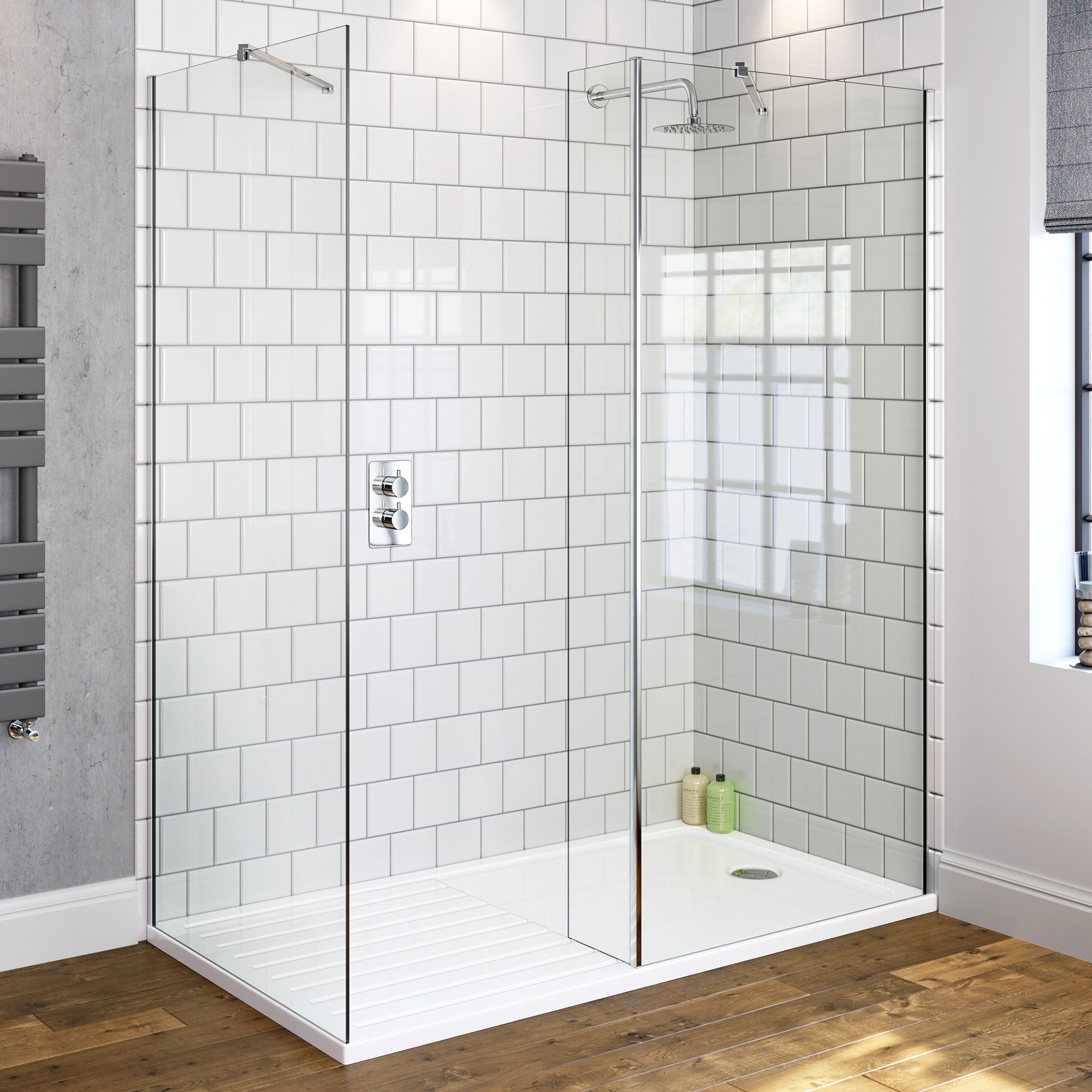800x800mm Premium Walk Through Shower Enclosure & Side Panel | 8mm ...