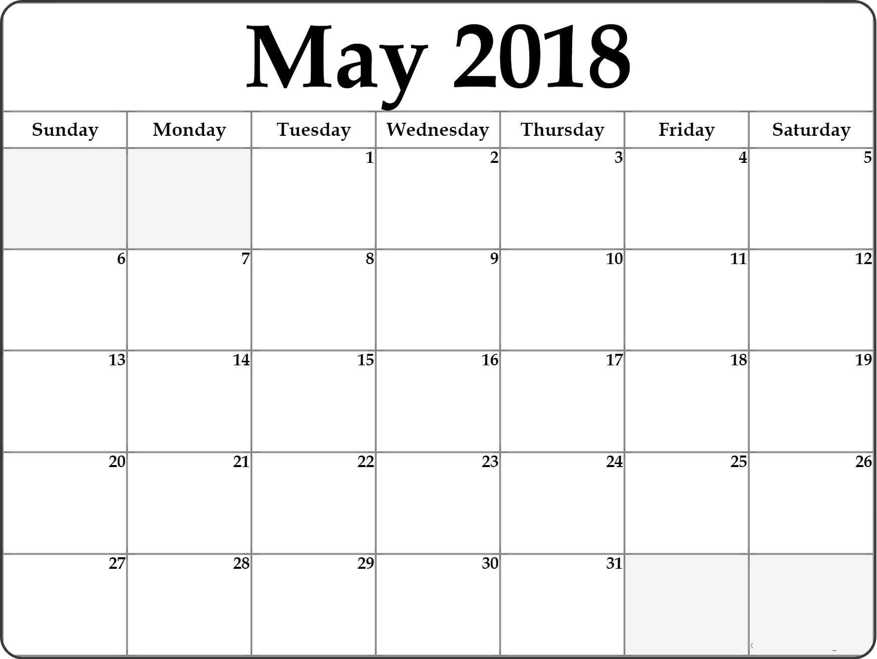 may 2018 calendar printable free